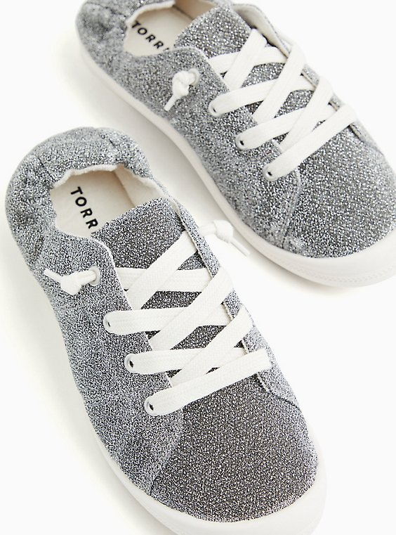 Riley - Silver Shimmer Ruched Sneaker (WW), , hi-res