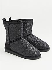 Black Glitter Cozy Booties (WW), BLACK, alternate
