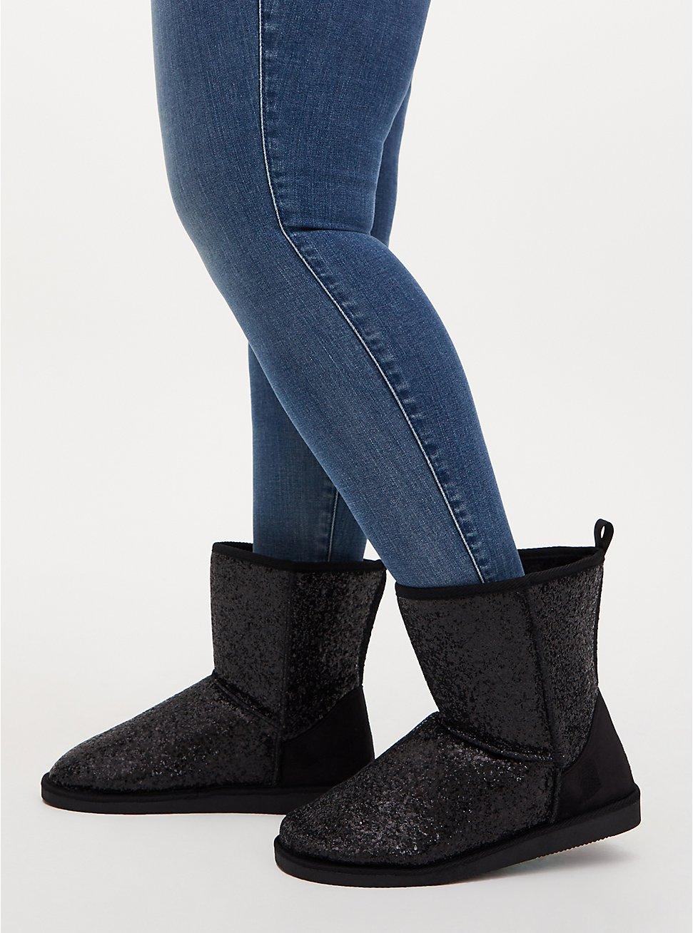 Black Glitter Cozy Booties (WW), BLACK, hi-res