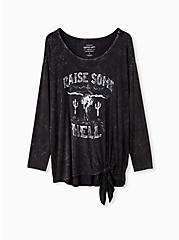 Super Soft Raise Hell Black Mineral Wash Tie-Front Tee, DEEP BLACK, hi-res