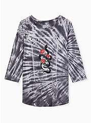 Snake Graphic Classic Fit Crew Tee - Triblend Tie-Dye Grey, DEEP BLACK, hi-res