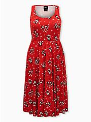Disney Mickey Mouse & Minnie Mouse Red Ponte Midi Skater Dress, MICKEY COUPLE POSES, hi-res