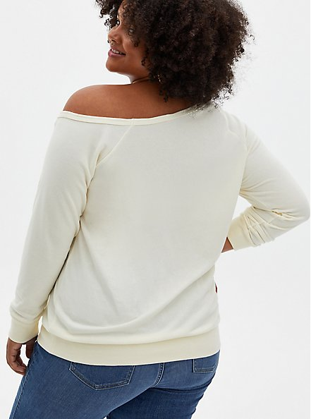 Curves Ahead White Terry Off Shoulder Sweatshirt, MARSHMALLOW, alternate