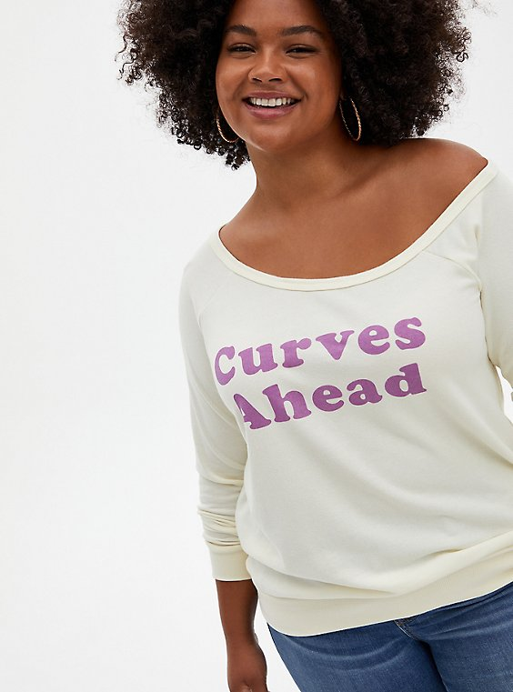 Curves Ahead White Terry Off Shoulder Sweatshirt, MARSHMALLOW, hi-res