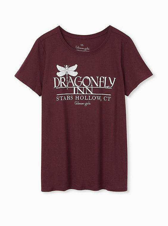 Gilmore Girls Dragon Fly Inn Slim Fit Tee - Burgundy Purple, , hi-res