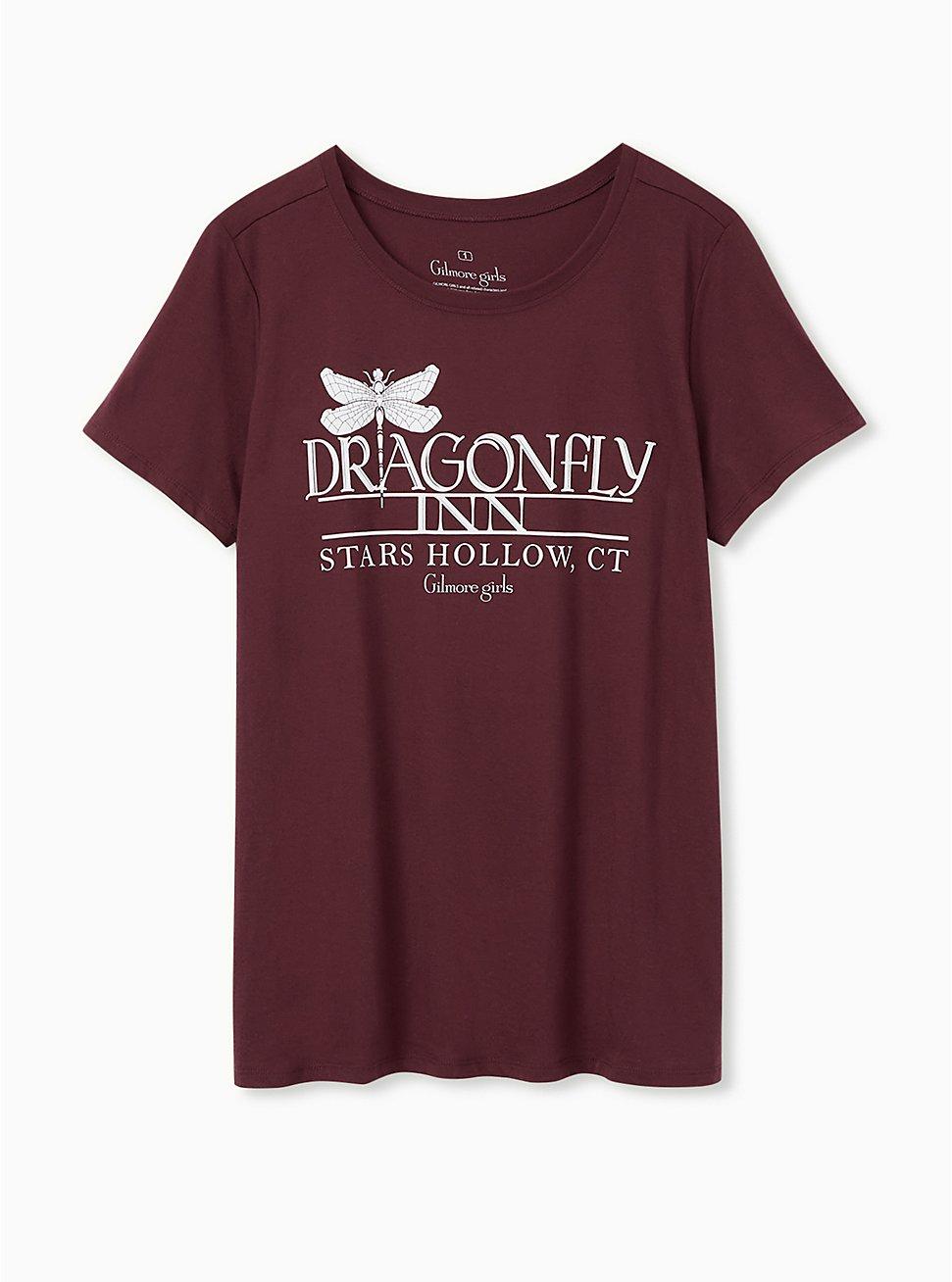 Gilmore Girls Dragon Fly Inn Slim Fit Tee - Burgundy Purple, , hi-res
