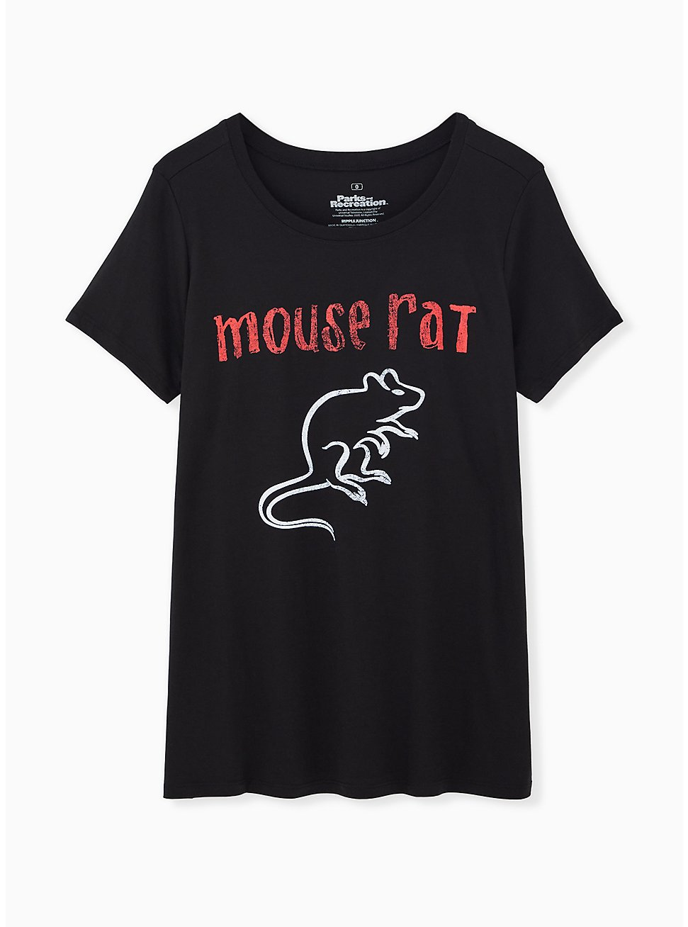 Parks and Recreation Black Slim Fit Mouse Rat Tee, DEEP BLACK, hi-res