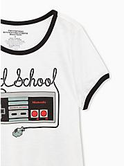 Nintendo Old School Controller Classic Fit White Ringer Tee, BRIGHT WHITE, alternate
