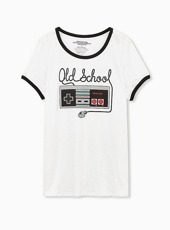 Nintendo Old School Controller Classic Fit White Ringer Tee, BRIGHT WHITE, hi-res