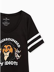 Plus Size Disney Lion King Scar & Hyenas Black Jersey Football Tee, DEEP BLACK, alternate