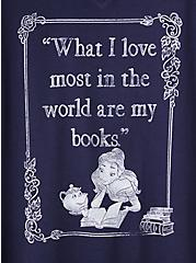 Disney Beauty and the Beast Books Classic Fit Navy Top, PEACOAT, alternate