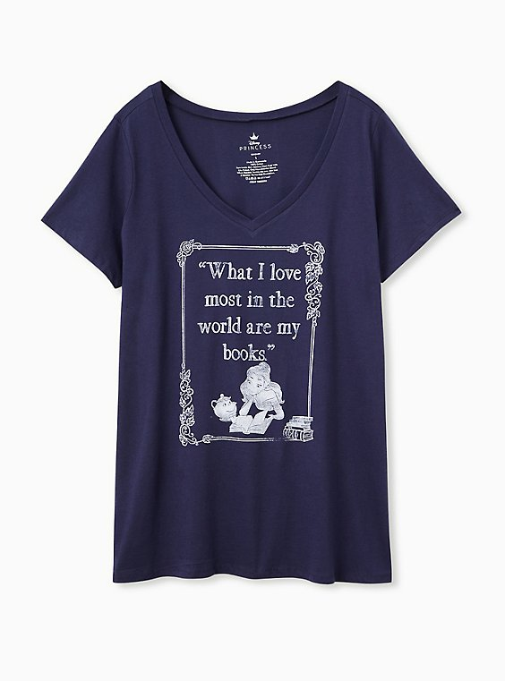 Disney Beauty and the Beast Books Classic Fit Navy Top, , hi-res