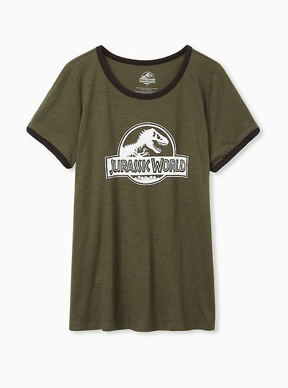 Jurassic Park Classic Fit Ringer Tee - Olive Green, , hi-res