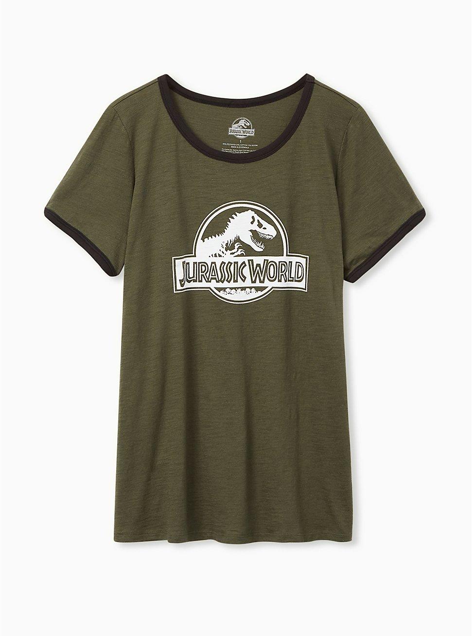 Jurassic Park Classic Fit Ringer Tee - Olive Green, CHARCOAL, hi-res