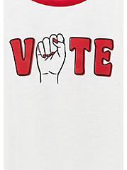 Classic Fit White Vote Ringer Tee, BRIGHT WHITE, alternate
