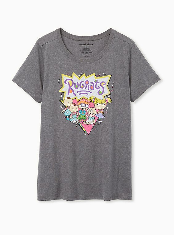 Rugrats Slim Fit Heather Grey Crew Tee, MEDIUM HEATHER GREY, hi-res