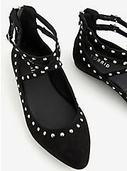 Black Studded Strappy Flat (WW), BLACK, alternate