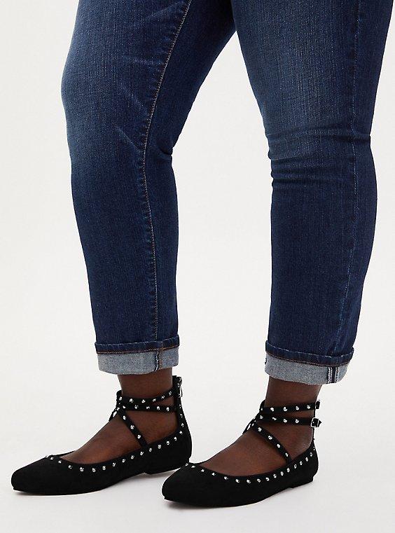 Black Studded Strappy Flat (WW), , hi-res