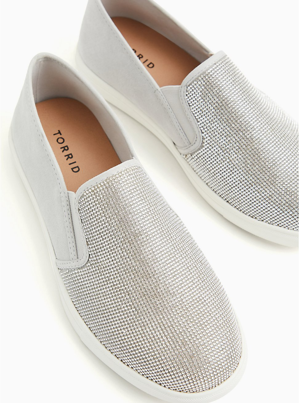 Grey Embellished Faux-Gem Slip-On Sneaker (WW), GREY, hi-res