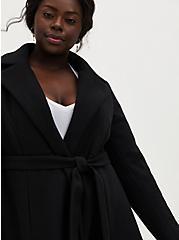 Black Stretch Woven Self-Tie Fit & Flare Longline Coat, , alternate