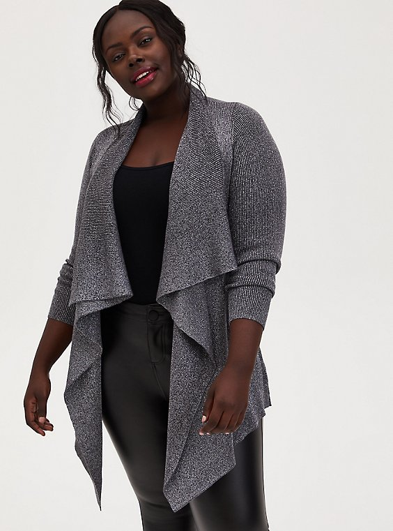 Dark Slate Grey Lurex Drape Front Cardigan, GREY, hi-res