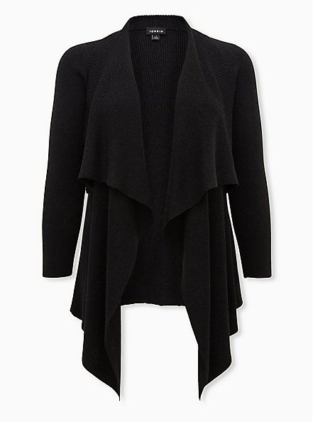 Black Lurex Drape Front Cardigan, DEEP BLACK, hi-res