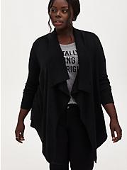 Black Shimmer Drape Front Cardigan, DEEP BLACK, hi-res