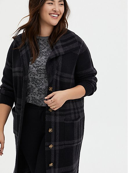 Grey Plaid Collar Sweater Coat, PLAID - GREY, alternate