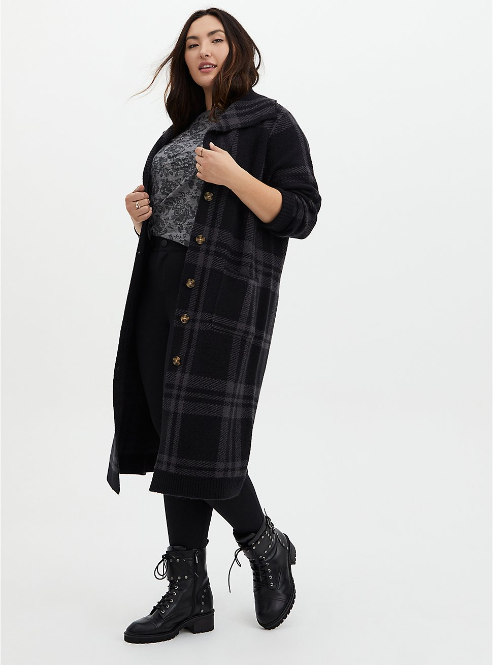 Grey Plaid Collar Sweater Coat, PLAID - GREY, hi-res