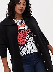 Black Shawl Collar Duster Sweater Coat, DEEP BLACK, alternate