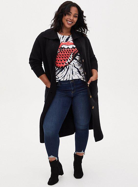 Black Shawl Collar Duster Sweater Coat, DEEP BLACK, hi-res