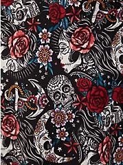 Black Tattoo Print Satin Robe, MUERTOS TATTOO, alternate