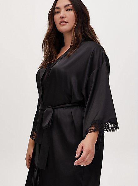 Plus Size Black Satin & Lace Trim Self-Tie Long Robe, RICH BLACK, alternate
