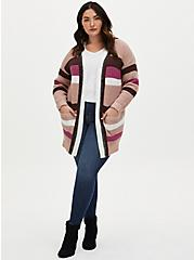 Multi Stripe Yarn Open Front Cardigan, MULTI STRIPE, alternate