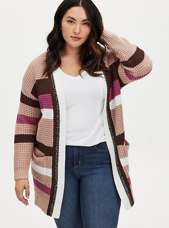 Multi Stripe Yarn Open Front Cardigan, MULTI STRIPE, hi-res