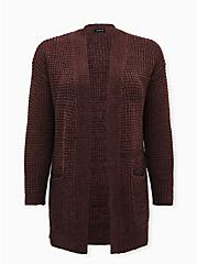 Rust Brown Yarn Open Front Cardigan, DEEP MAHOGANY, hi-res