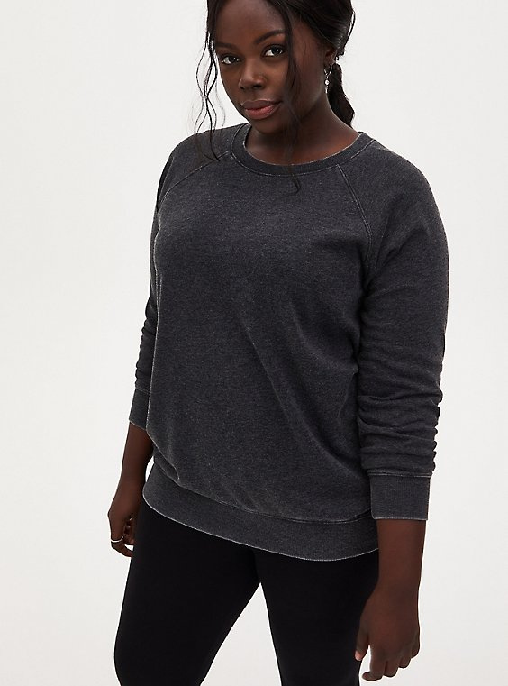 Black Fleece Burnout Sweatshirt, DEEP BLACK, hi-res