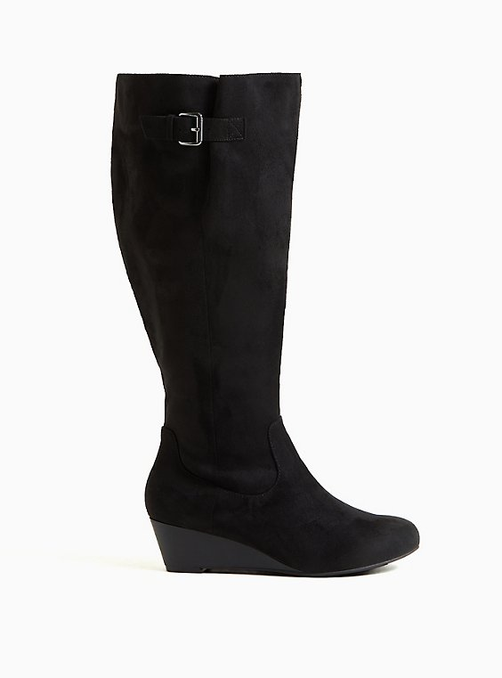 Black Faux Suede Wedge Knee-High Boot (WW), BLACK, hi-res