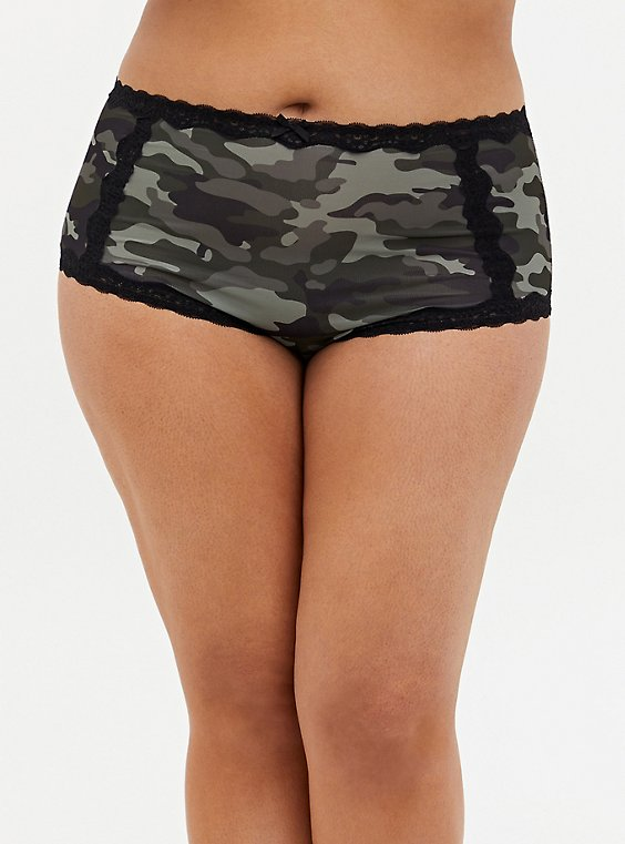 Camo Microfiber & Lace Brief Panty , , hi-res