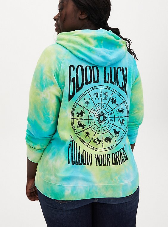 Green Tie-Dye Follow Dreams Hoodie, GREEN, hi-res