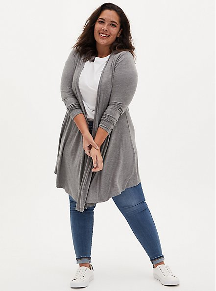 Super Soft Heather Grey Fit & Flare Cardigan, GREY, alternate
