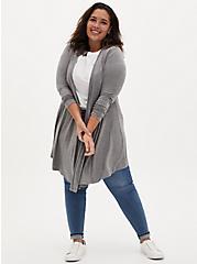 Super Soft Heather Grey Fit & Flare Cardigan, GREY, alternate