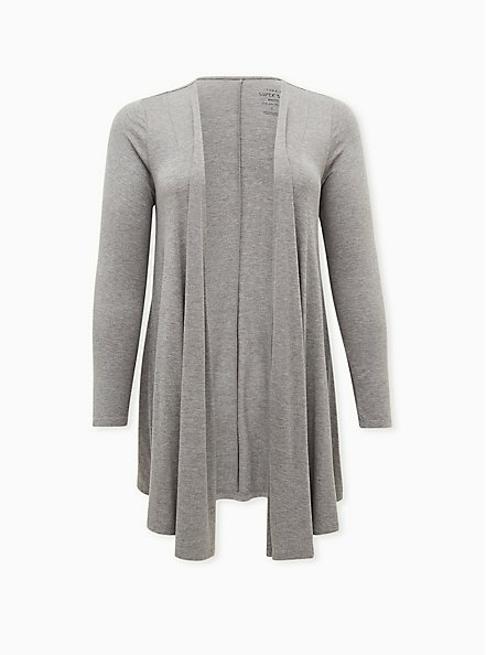Super Soft Heather Grey Fit & Flare Cardigan, GREY, hi-res