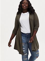 Plus Size Super Soft Olive Green Fit & Flare Cardigan, DEEP DEPTHS, hi-res