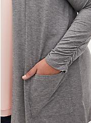 Super Soft Grey Shirred Sleeve Open Cardigan , GREY, alternate