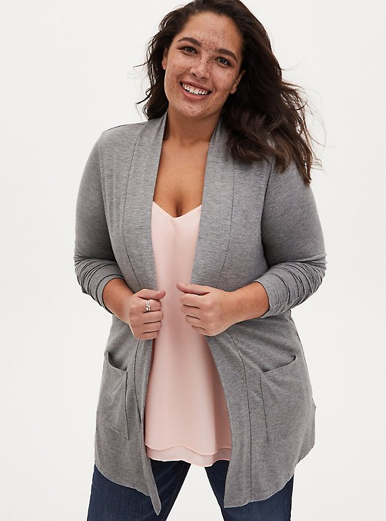 Super Soft Grey Shirred Sleeve Open Cardigan , , hi-res