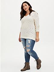 Ivory V-Neck Slouchy Pullover Tunic, MARSHMALLOW, alternate