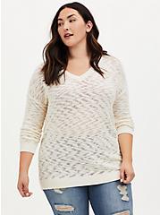 Ivory Slub V-Neck Slouchy Pullover Tunic, MARSHMALLOW, hi-res