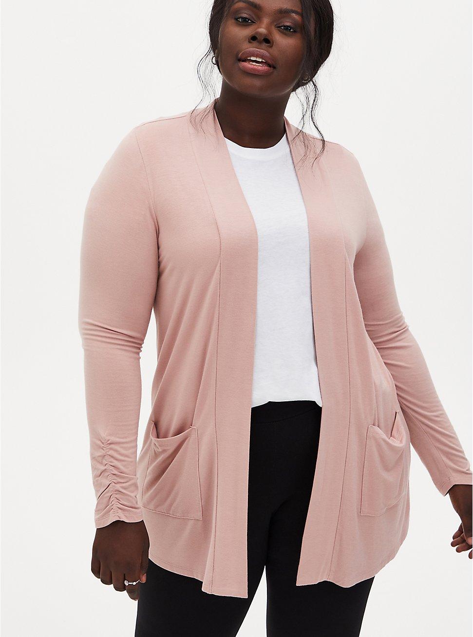 Plus Size Super Soft Dusty Pink Open Front Cardigan , DUSTY QUARTZ, hi-res