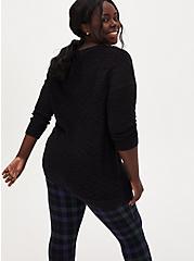 Black V-Neck Slouchy Pullover Tunic, DEEP BLACK, alternate